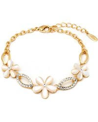 Peermont - Gold And Crystal Elements Flower Link Bracelet - Lyst