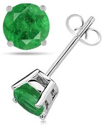 Tia Collections - 7mm Round Shape Emerald Earrings In 14k White Gold - Lyst