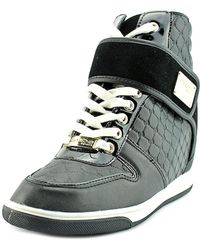 Bebe - Womens Colby Leather Wedge Fashion Sneakers - Lyst