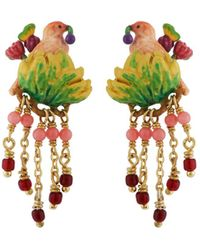 Les Nereides - Lovely Canaries Pink Bird On Its Leafy Branch And Charms Earrings - Lyst