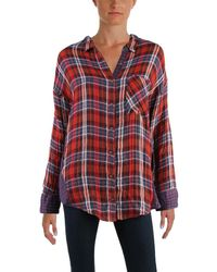 Free People - Womens One Of The Guys Woven Plaid Button-down Top - Lyst