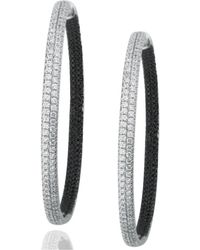 Suzy Levian - Pave Cubic Zirconia Sterling Silver Earrings - Lyst
