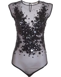 Amen - Women's Black Polyester Bodysuit - Lyst