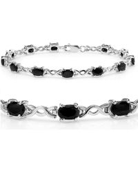 Amanda Rose Collection - 7ct Tgw Sapphire Infinity Tennis Bracelet Set In Sterling Silver ( 7 1/4 Inches) - Lyst