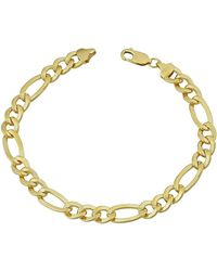 Jewelry Affairs - 14k Yellow Gold Filled Solid Figaro Chain Bracelet, 7.0 Mm, 9 - Lyst