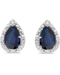 Amanda Rose Collection - 14k White Gold Pear Sapphire And Diamond Earrings - Lyst