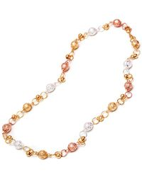 Peermont - Gold Triple-tone Textured Ball Link Necklace - Lyst