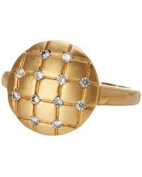 Adornia - 14 Karat Yellow Gold Vermeil Quilt Ring - Lyst