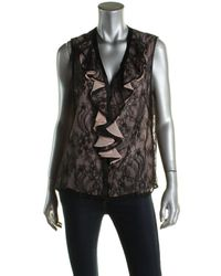 Nanette Lepore - Womens All Or Nothing Lace Overlay Silk Lining Casual Top - Lyst