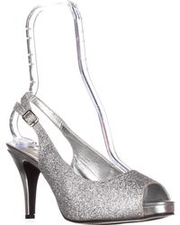 Rampage - Fasher Peep Toe Slingback Court Shoes, Silver Glitter - Lyst