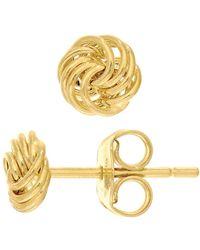 JewelryAffairs   14k Yellow Gold Shiny 4 Row Love Knot Stud Earrings, 6mm   Lyst