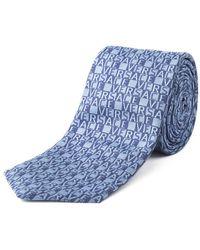 Versace - Men's Slim Silk '' Block Lettering Pattern Blue Tie - Lyst