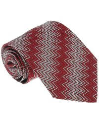 Missoni - U3420 Red/gray Chevron 100% Silk Tie - Lyst