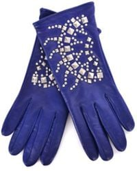 Roberto Cavalli - Blue Leather Wool Lined Silver Studded Gloves - Lyst