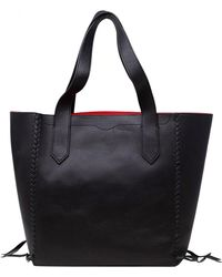 Rebecca Minkoff - Women's Medium Panama Leather Top-handle Bag Tote - Black - Lyst