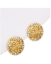 Chanel - Gold-tone Crystal Cc Earrings - Lyst