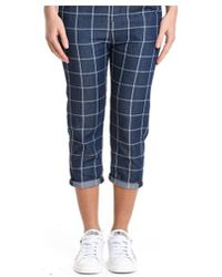 Manila Grace - Women's Blue Cotton Pants - Lyst
