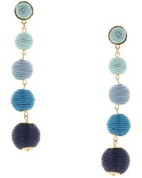 Sparkling Sage - 14k Plated Threaded Drop Earrings - Lyst