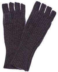 White + Warren - Charcoal Heather Cashmere Fingerless Gloves - Lyst