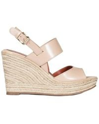 Santoni - Women's Beige Leather Wedges - Lyst