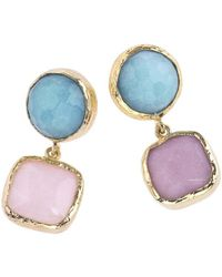 Jewelista - 18k Gold Plate & Quartz Drop Earrings - Lyst