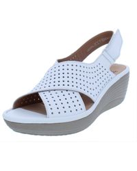 7f1199c210d Clarks - Womens Reedly Variel Perforated Slingback Wedge Sandals - Lyst