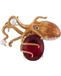 Les Nereides - Atlantide Octopus And Red Stone Brooch - Lyst