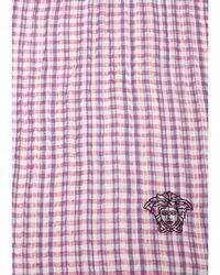 Versace - Women's Embroidered Medusa Logo Cotton/linen Scarf Pink - Lyst