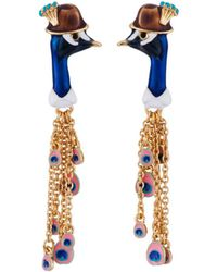 Les Nereides - Kind And Happy Face Of Leon The Peacock And Feathers Charms Earrings - Lyst
