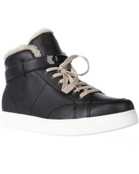 COACH - Richmond Fleece Lined High Top Fashion Trainers - Black/natural - Lyst