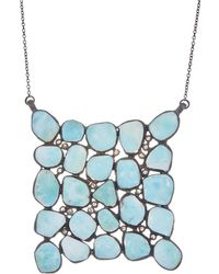 Adornia - Larimar, Diamond, And Sterling Silver Mosaic Necklace - Lyst