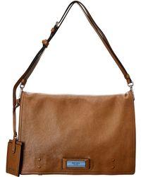 Prada - Etiquette Logo Leather Shoulder Bag - Lyst
