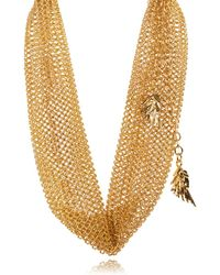 Roberto Cavalli - Goldtone Chainmail Feather Charm Chocker Necklace - Lyst
