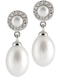 Splendid - Double Pearl & Cz Earrings - Lyst