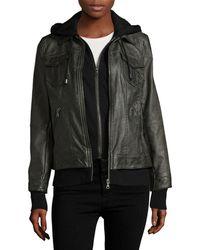 Bagatelle - Hooded Leather Jacket - Lyst