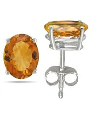 Tia Collections - 8x6 Oval Shape Citrine Earrings In 14k White Gold - Lyst