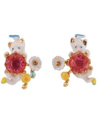 Les Nereides - Little Cats Whith Bird And Faceted Glass Clip Earrings - Lyst