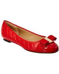 Ferragamo - Vara Bow Matelasse Leather Ballet Flat - Lyst