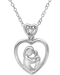 Amanda Rose Collection - Diamond Mothers Love Heart Pendant-necklace In Sterling Silver (18in. Chain) - Lyst