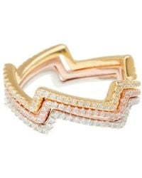 Adornia - Sterling Silver And Swarovski Crystal Zigzag Stacking Ring Set - Lyst