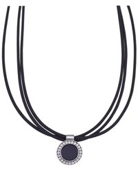 "Jewelista - 16"" Nitrile Rubber & Stainless Steel Pendant Necklace - Lyst"