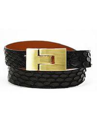 Leighelena - Double Wrap Black Anaconda Bracelet - Lyst
