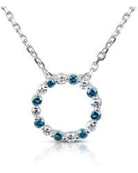 Suzy Levian - 14k White Gold .25ct Tdw Blue And White Diamond Circle Pendant Necklace - Lyst
