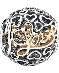 PANDORA - 14k & Silver Message Of Love Charm - Lyst