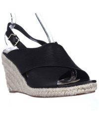 Via Spiga - Rosette Esapdrille Slingback Sandals - Black Leather - Lyst