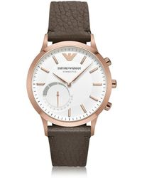 Emporio Armani - Men's Brown Leather Watch - Lyst