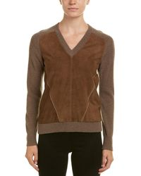 abd84f29d7 Lyst - Brunello Cucinelli Cashmere Sweater With Suede Elbow Patches ...