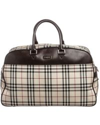 Burberry | Pre Owned- Nova Check Fabric Brown Leather Travel Duffle Bag | Lyst