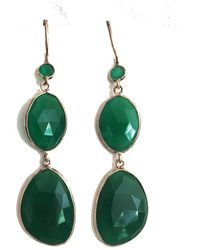 Blue Candy Jewelry - Poprox Double Drop Earrings Green Onyx Silver - Lyst