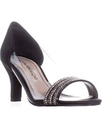 Caparros - Fancy Peep-toe Embellished Evening Pumps, Black Satin - Lyst